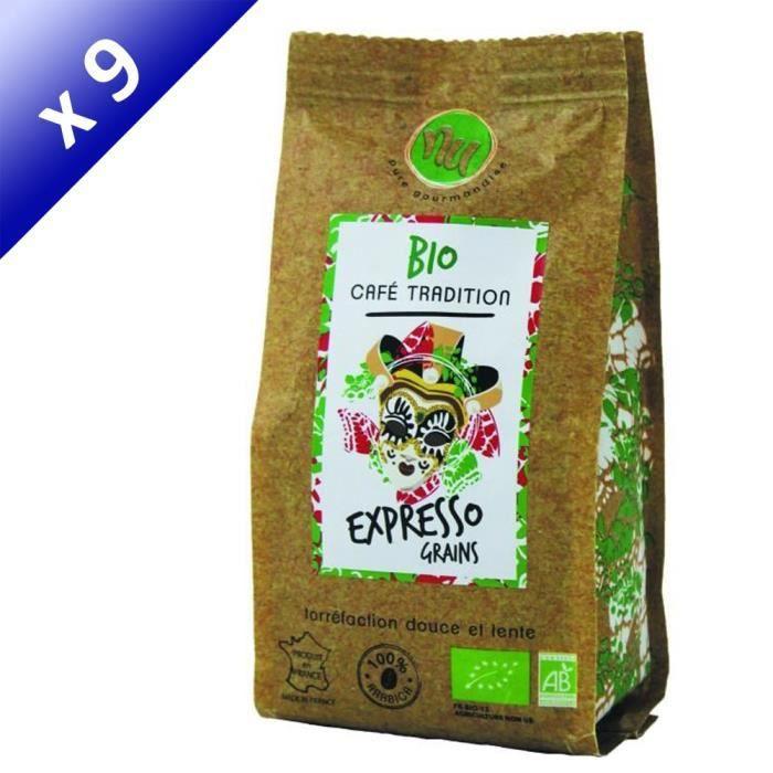 [LOT DE 9] NU Café Bio Expresso Italien Grain Sachet 125g