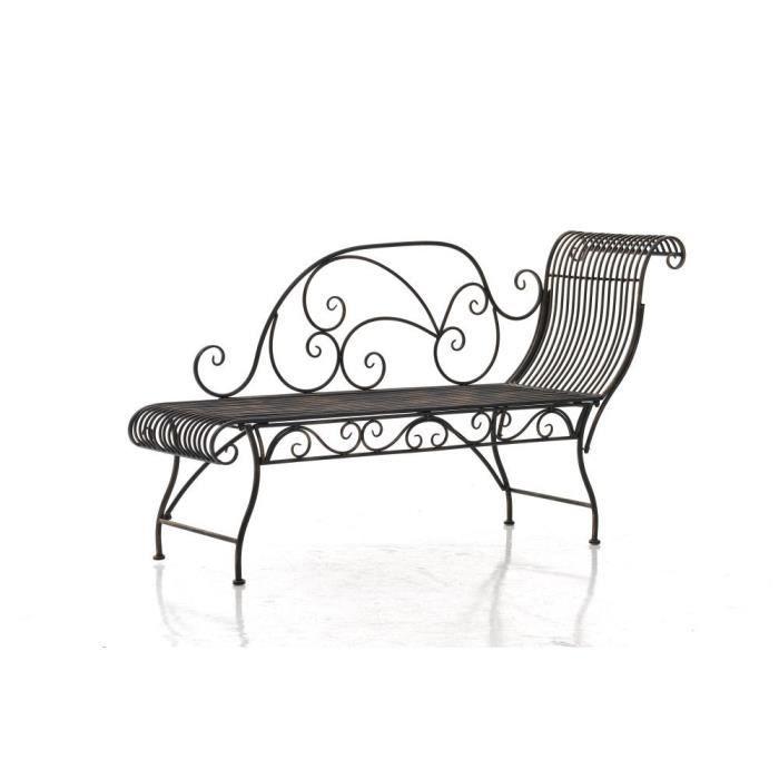 CLP Banquette de jardin KARMA, style villa de vacances, en fer laqué, 156 x 46 cm, recamière en métal, 5 couleurs au choix78 cm -...