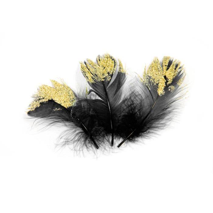 25 plumes de paon noir or 7.5cm