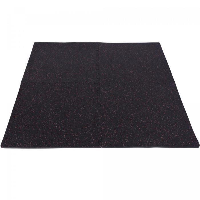 Tapis de protection en caoutchouc noir/rouge - 4 dalles + 8 embouts de finition