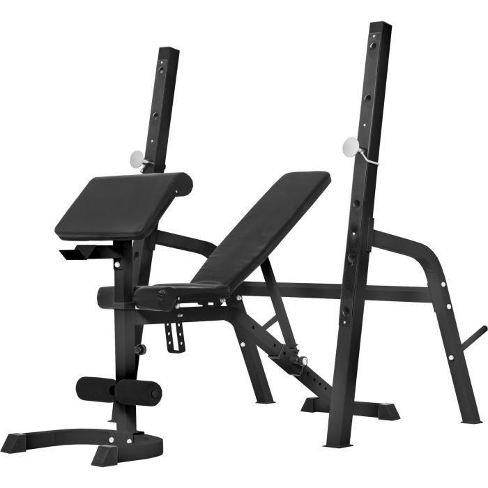 Gorilla Sports - Banc de musculation avec repose-barre séparé - NOIR