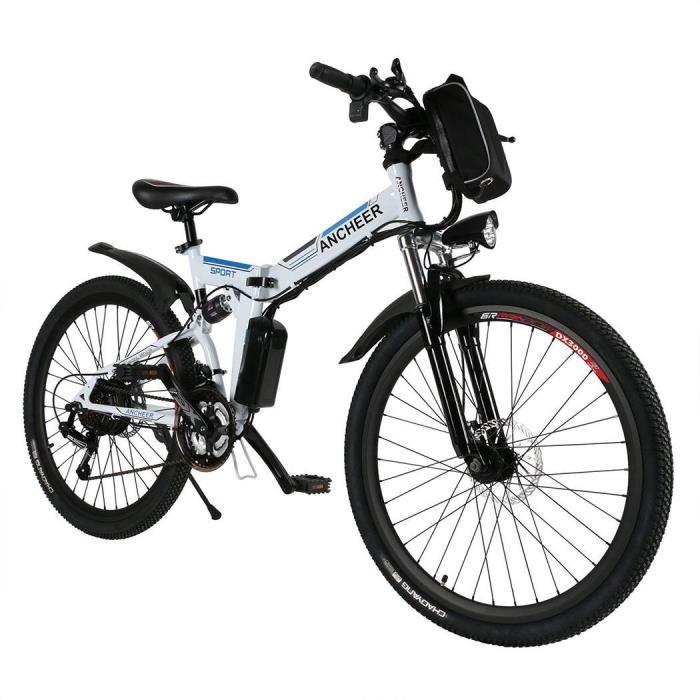 VTT 26 pouces Vélo électrique de montagne pliable avec batterie au Lithium-Ion - UK prise - blanc