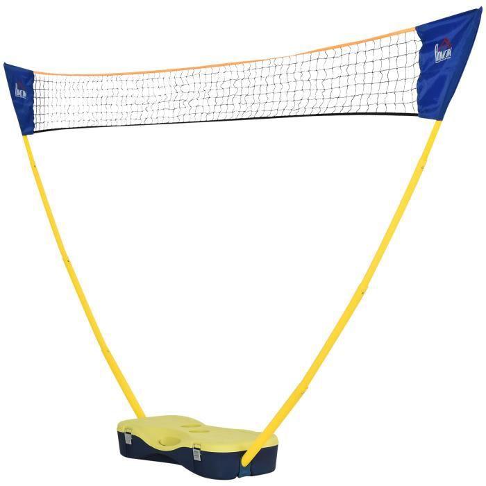 Filet de Badminton/loisirs dim. 2,7L x 0,33l x 1,57H m - ensemble complet badminton : 2 raquettes, 2 volants, filet et mallette