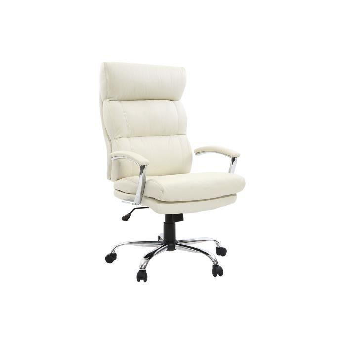 Miliboo - Fauteuil de bureau design cuir blanc TILIO