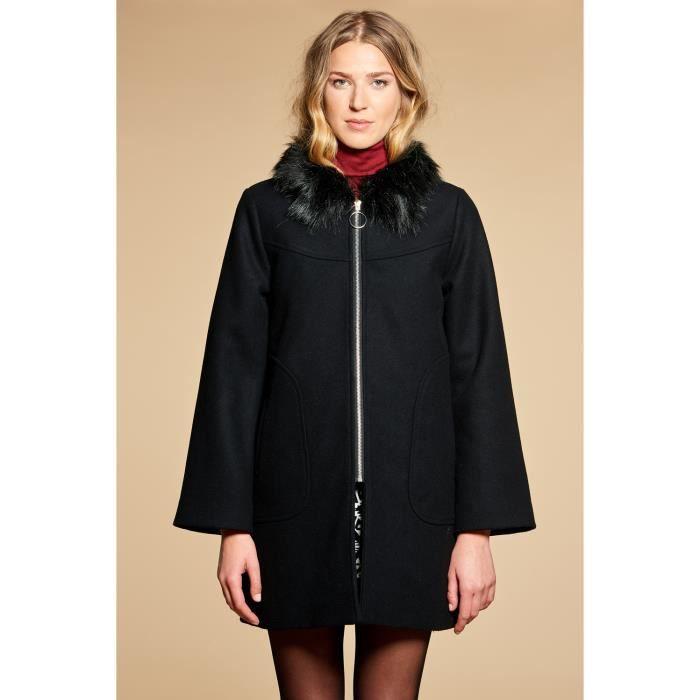 Manteau à col en fausse fourrure MARQUISE - Couleur - Black, Taille - M