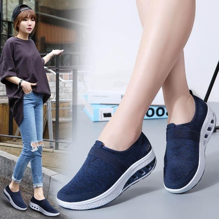 OS Chaussures de course décontractées pour femmes Chaussures à bascule à semelle épaisse renforcée Baskets compensées Bleu
