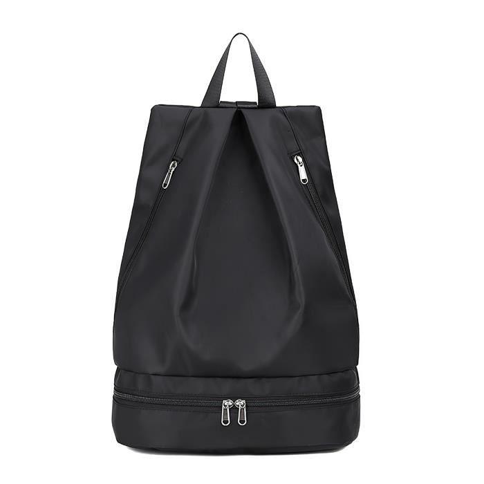 Sac de natation sac de sport séparation sèche et humide sac à dos étanche femme sac de rangement de plage étanche-noir