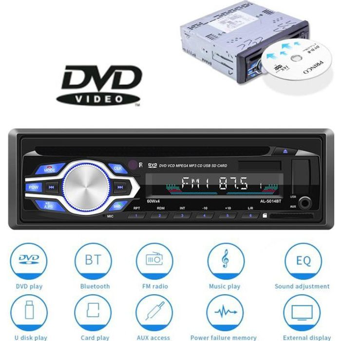 Autoradio CD-DVD Voiture 12V-24V Lecteur MP3 stereo Bluetooth Microphone