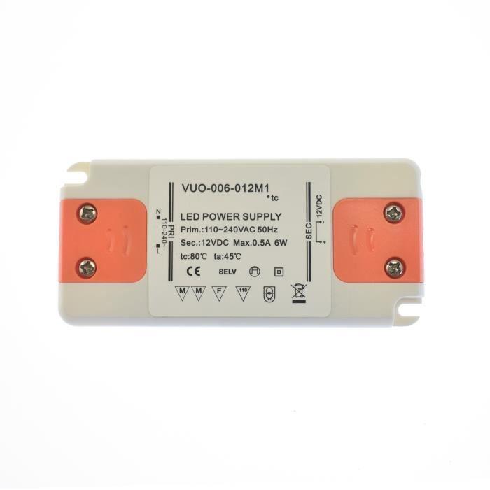 12V Dc 100-240VAC 50//60Hz Transformateur bloc alimentation LED 6W 0,5A