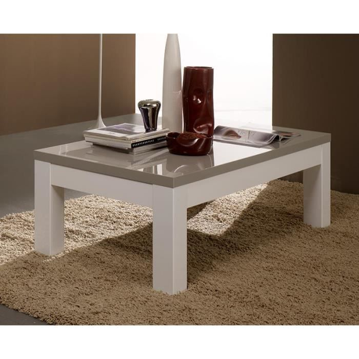 Table basse carr e ou rectangulaire gris et blanc laqu for Table basse carree blanc laquee