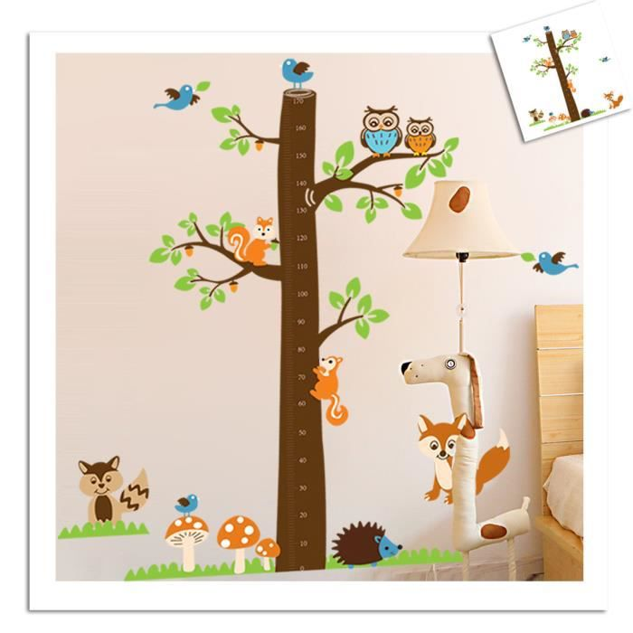 stickers muraux enfant de la hauteur arbre et animaux. Black Bedroom Furniture Sets. Home Design Ideas