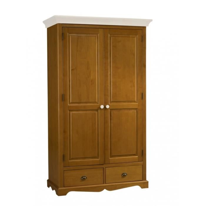 Armoire penderie pin miel 2 portes dessus blanc achat for Achat armoire penderie