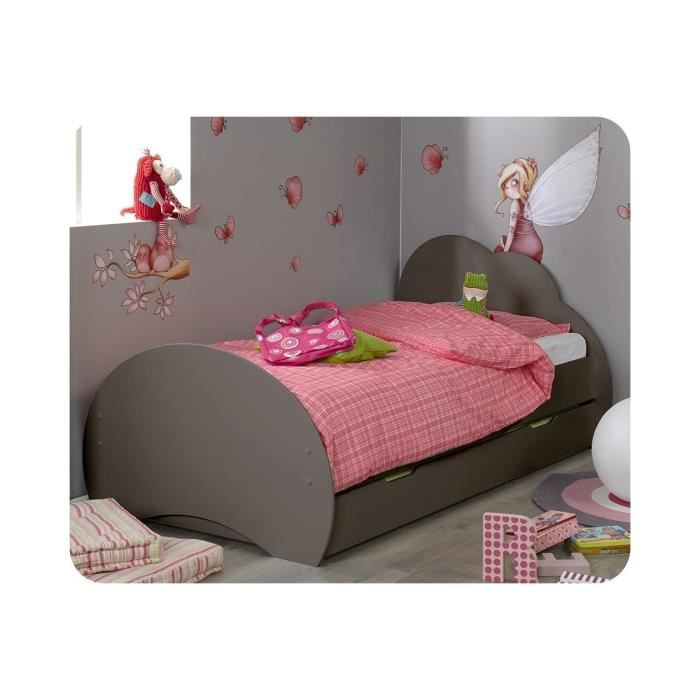 pack lit enfant nuage taupe avec sommier et matelas natura 90x190 cm marron achat vente lit. Black Bedroom Furniture Sets. Home Design Ideas