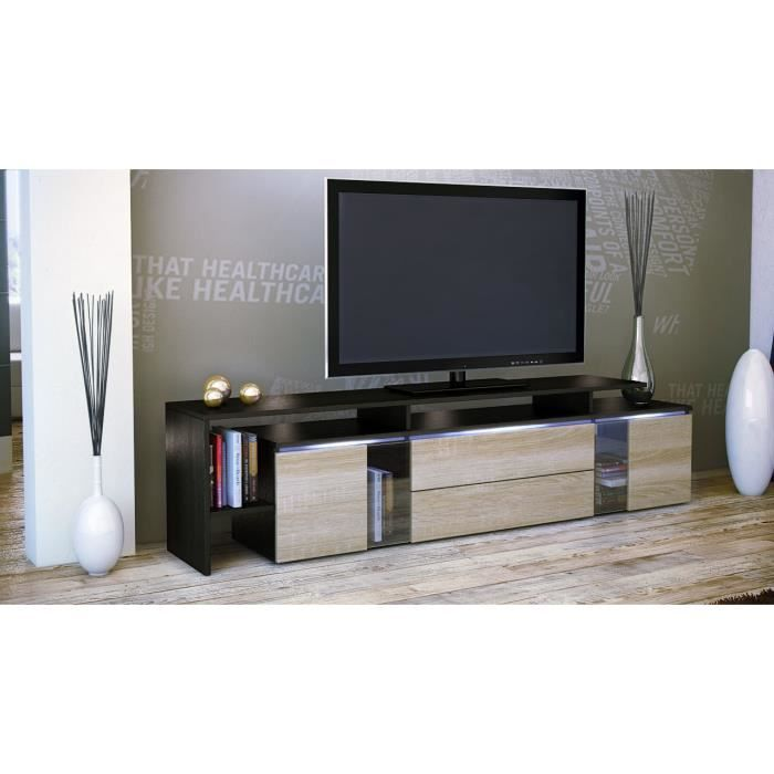 meuble tv blanc bois brut 187 x 47 x 35 cm achat. Black Bedroom Furniture Sets. Home Design Ideas