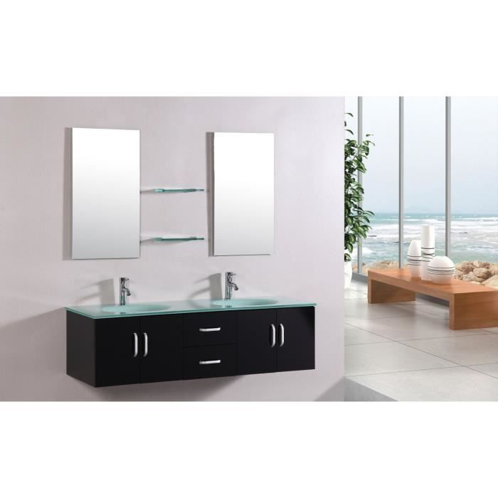 Softy wenge ensemble de salle de bain meuble 2 vasques for Miroir texture