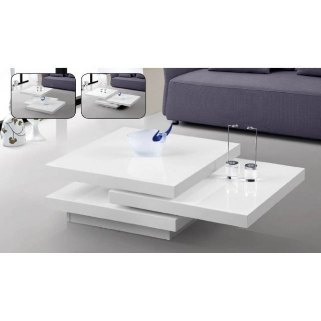 Table basse pivotante ocean laquee blanc achat vente for Table de salon blanc