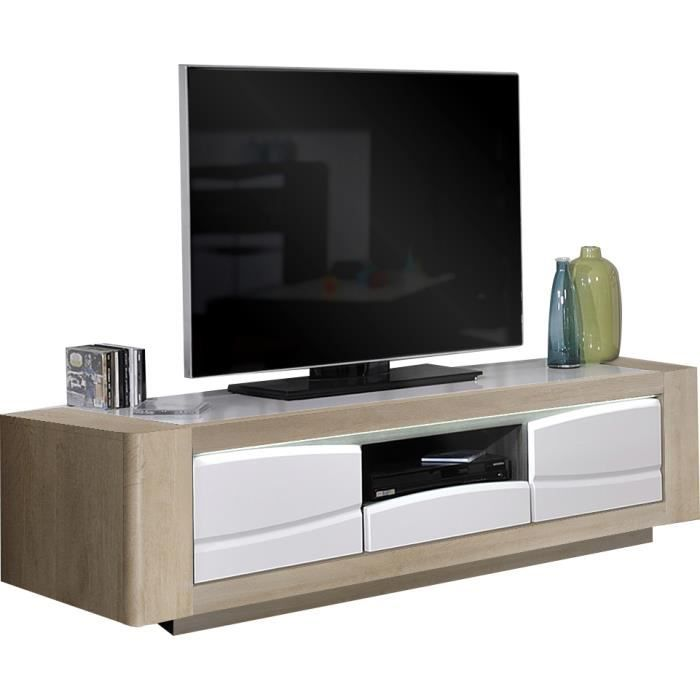 meuble tv ch ne clair et blanc 2 portes et 1 tiroir avec. Black Bedroom Furniture Sets. Home Design Ideas