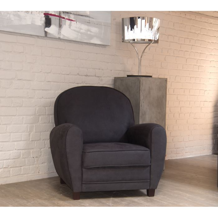 fauteuil imitation vieux cuir gris 39 club 39 achat vente. Black Bedroom Furniture Sets. Home Design Ideas