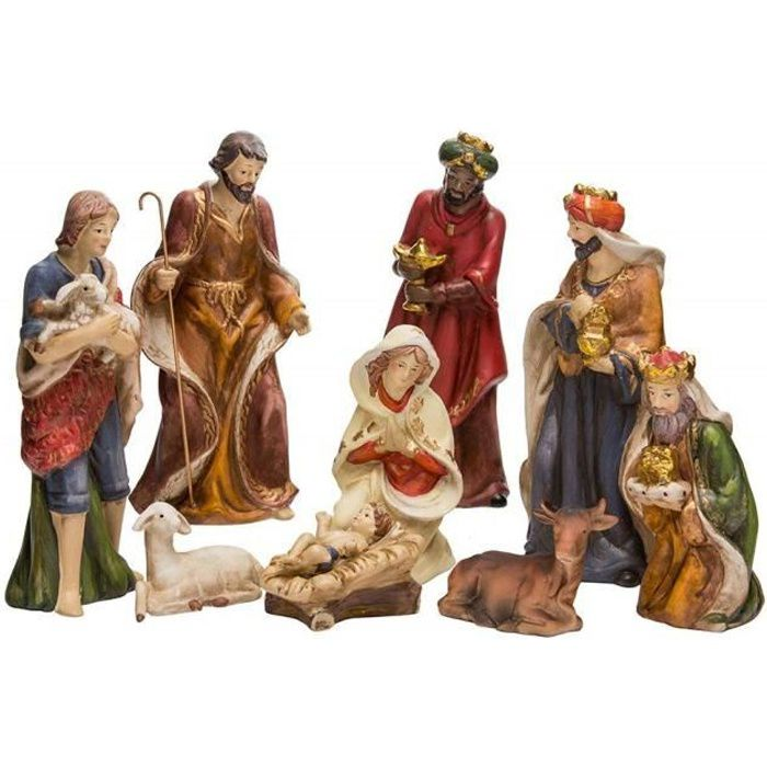 Autres Crèche de Noël 8 santons porcelaine Multicolore