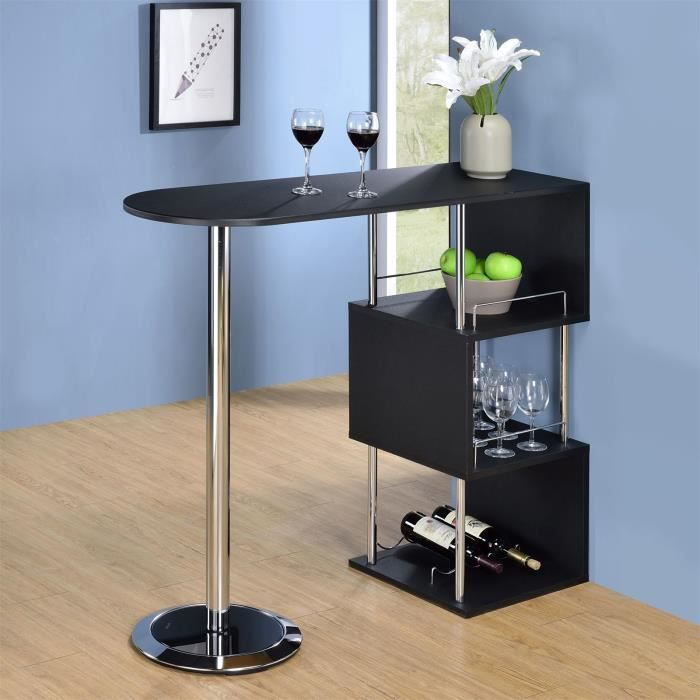 Table haute de bar vigando 3 tablettes mdf noir achat for Table de bar haute but