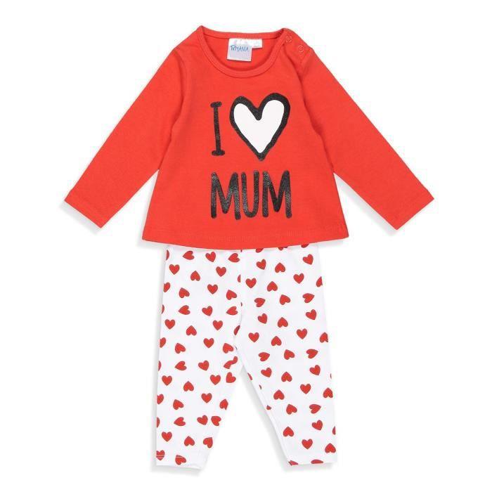"""PYJAMA Ensemble Pyjama """"I Love Mum"""" T-shirt + Pantacourt"""