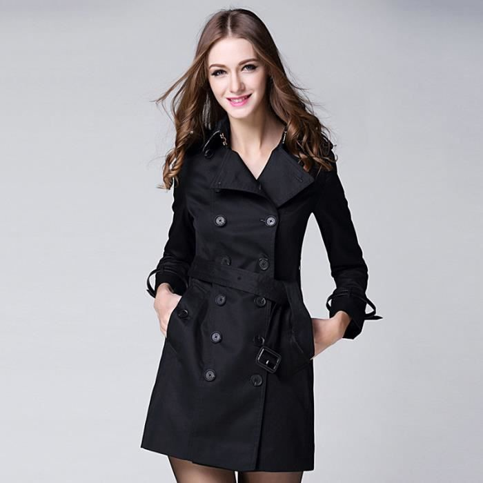 manteau femme trench double boutonnage noir noir achat vente imperm able trench cdiscount. Black Bedroom Furniture Sets. Home Design Ideas