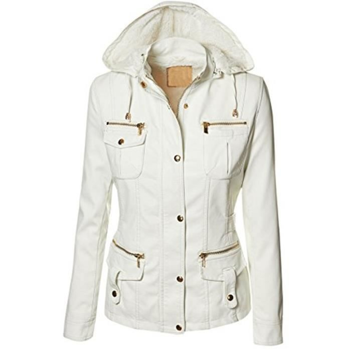 femme hooded veste en cuir pour femmes manteaux en cuir blouson biker jacket blanc achat. Black Bedroom Furniture Sets. Home Design Ideas