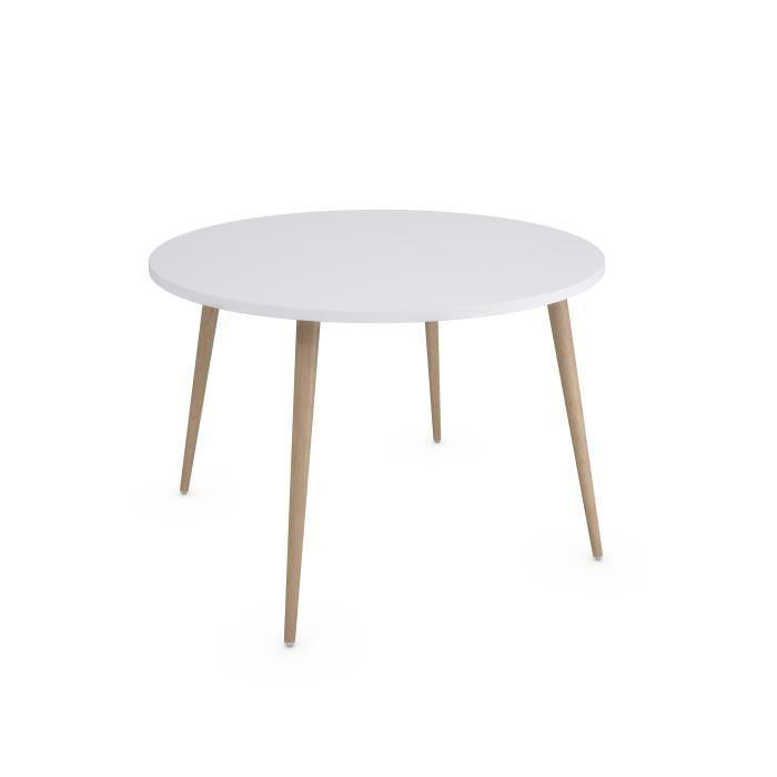Table ronde scandinave blanche 6 personnes diam/ètre 120cm table ronde KOSMI
