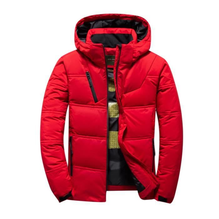 Court Huadedu Slim Épaississement Winter Homme Outdoor Fashion Veste Rouge Manteau New Body rYgTr