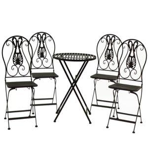 SALON DE JARDIN  Chaise Table de Jardin en Fer Pliante Pliable Marr
