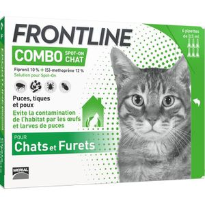ANTIPARASITAIRE FRONTLINE 6 pipettes Combo - Pour chat
