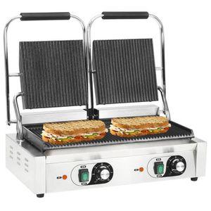 GRILL ÉLECTRIQUE vidaXL Gril de panini à double rainure 3600 W 58 x