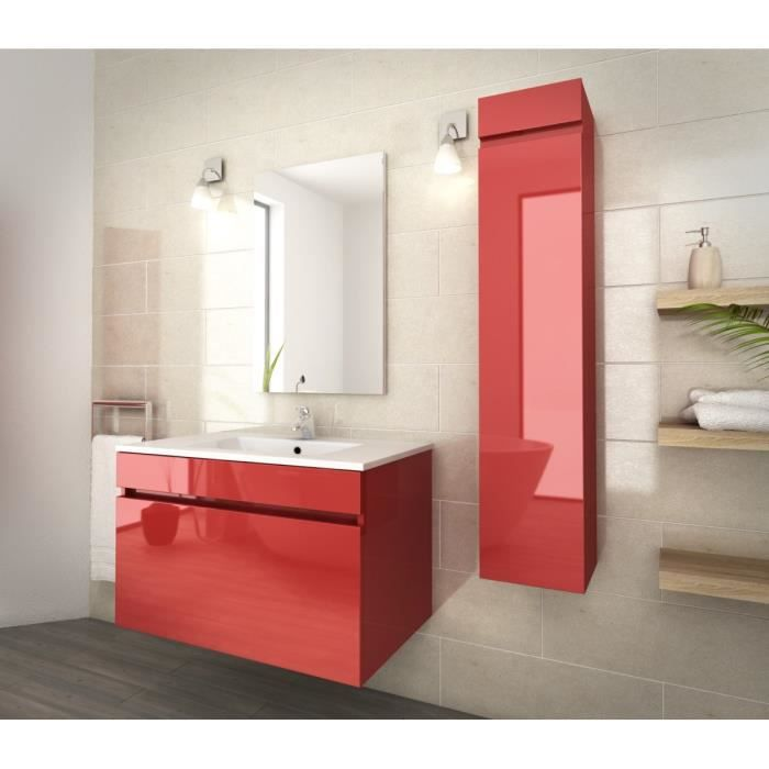 Luna ensemble salle de bain simple vasque l 80 cm rouge for Meuble salle de bain rouge