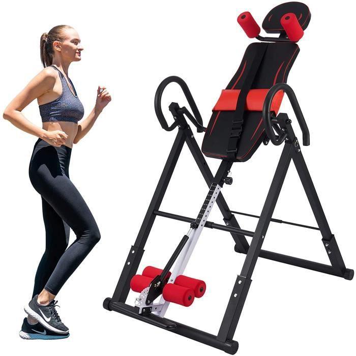 Table d'Inversion Pliable pour Entraînement du Dos, Planche Inversion Musculation de Gravité, Machine Inversée pour Entraîner Rouge