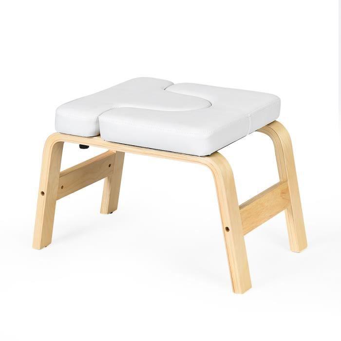 DREAMADE Tabouret/Chaise/Banc d'Inversion de Yoga avec Coussin Amovible en PVC,Capacité de Charge jusqu'à 200KG Blanc