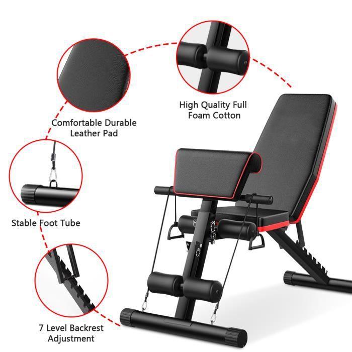 Lanxin Banc de musculation réglable pour fitness – inclinaison pliable pour entraînement à la maison