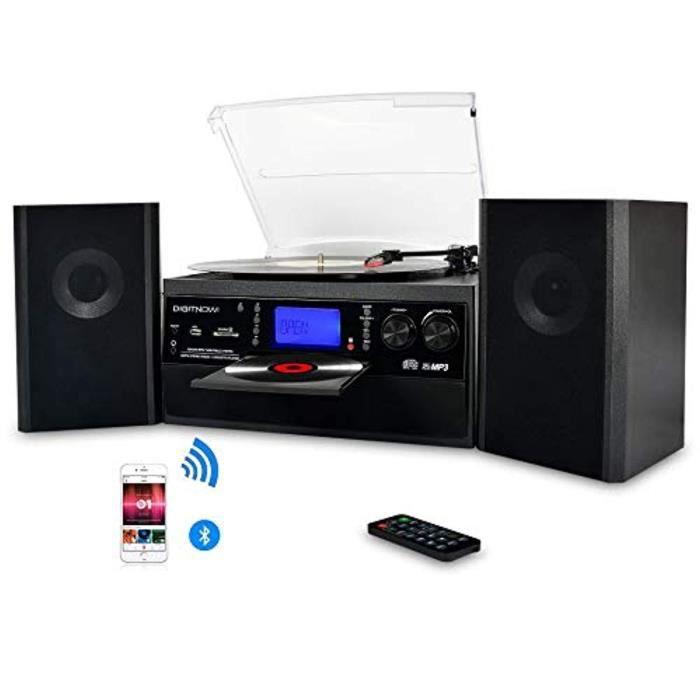 digitnow platine vinyle bluetooth usb mp3 et fonction encodage classique lecteur cd avec cd cassette radio 33 45 78 rpm avec deux