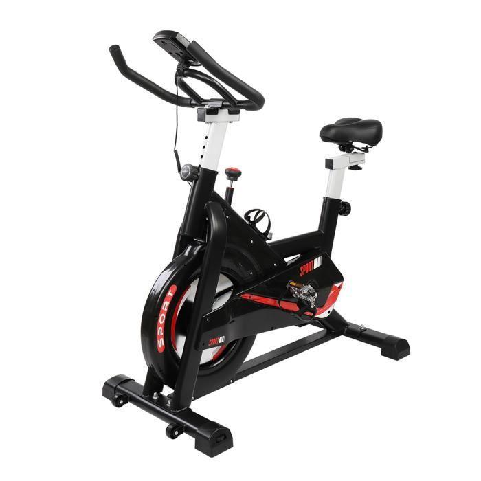 Vélo d'appartement,avec siège, guidon réglable, Vélo Maison Entraînement Gym Noir et Rouge 105.5*56* (97-109)cm
