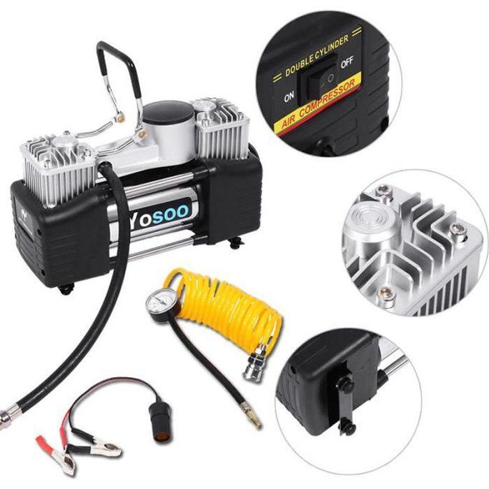 60L-min Pompe à air compresseur d'air de pneu gonfleur Double cylindre Portable pour voiture -AIM