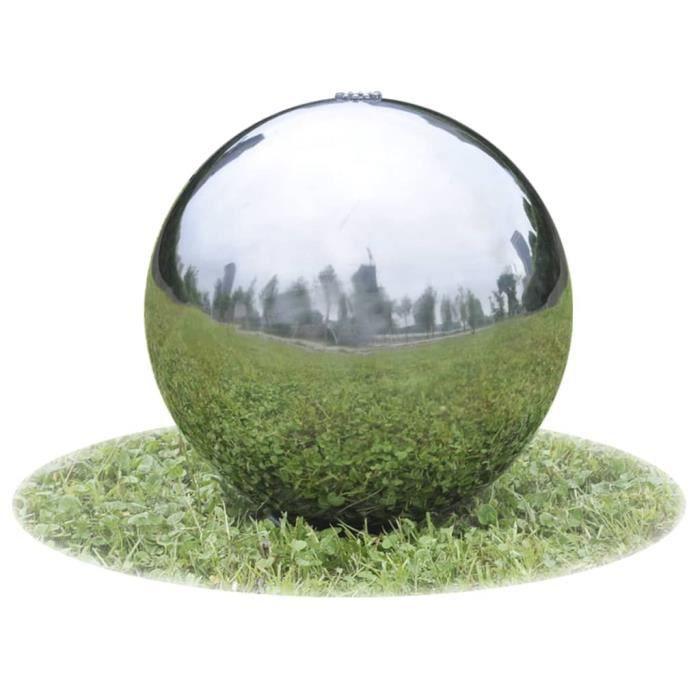 UNA Sphère de fontaine de jardin avec LED Acier inoxydable 20 cm