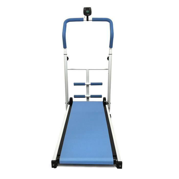 HEk Tapis de Course Roulant Manuel Pliable Courir Marcher écran LED Fitness Musculation - Bleu