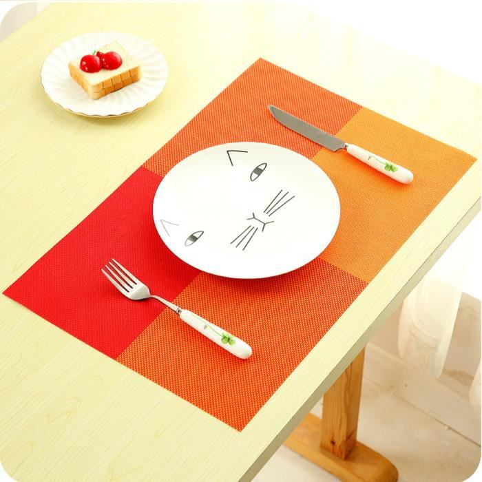 Lot de 4 Sets de table - 45x30 cm - Treillis - Orange