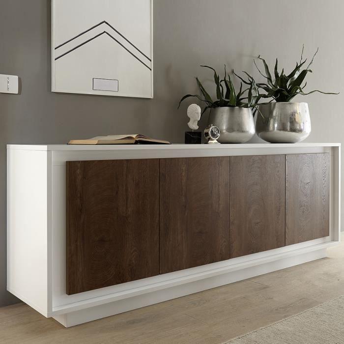 bahut blanc laqué mat et couleur bois MARCEAU L 207 x P 50 x H 80 cm Marron