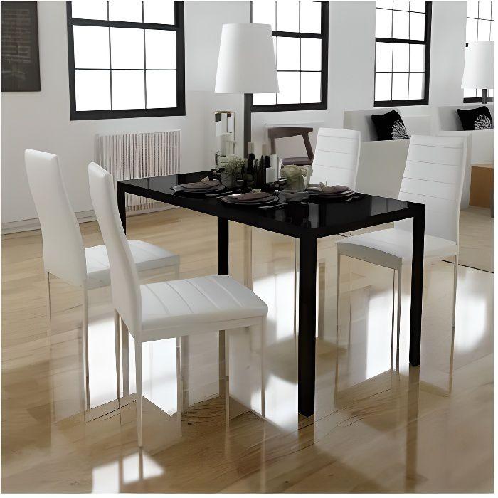 TABLE A MANGER AVEC CHAISES - 1 Table 105 x 60 x 74 cm et 4 Chaises - Noir et Blanc