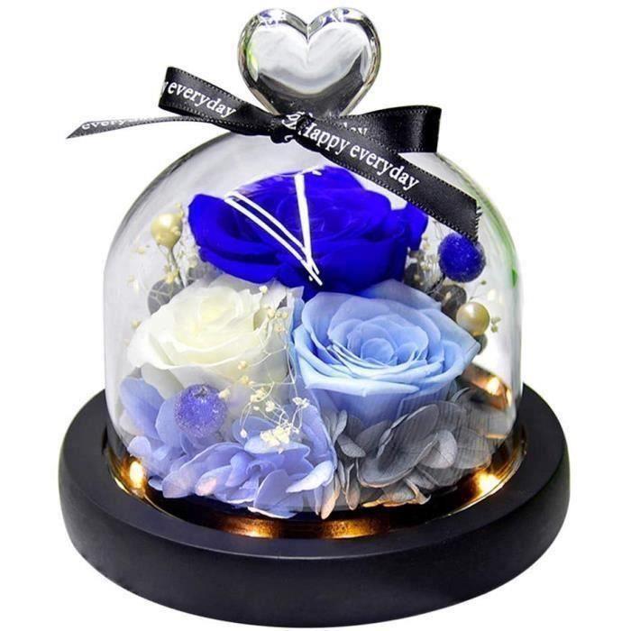 Naturelle Rose Eternelle avec Trois Roses jamais fanées,pour Fête des Mères, Saint Valentin, Anniversaires, Mariages (Bleu)