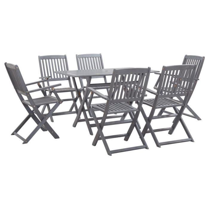 Ensemble table à manger de 6 à 8 personnes + 6 chaises Contemporain - 7 pcs Mobilier à dîner de jardin Bois d'acacia massif Gris