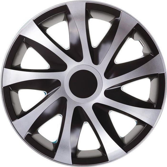 Enjoliveurs de roues DRACO CS 15 - noir- argent lot de 4 pièces