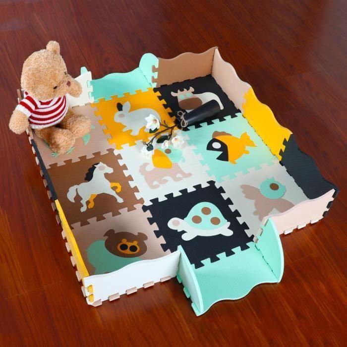 Tapis de Puzzles Tapis de Sol épais pour l'éveil de bébé Lot de 9 Dalles en Mousse Multicolores et 16 Tapis de Jeu de clôt AAA102967