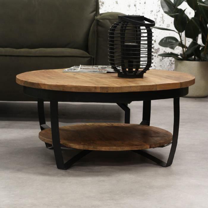 Baldo Table Basse Ronde Bois Manguier Massif Industriel 90 cm