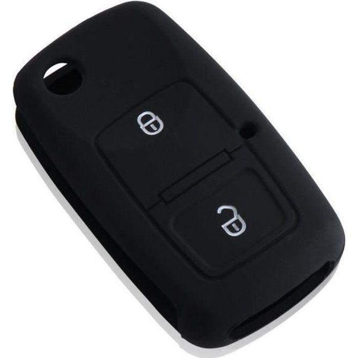 Etui Coque Housse Silicone clé Golf 4 Passat Polo Beetle Jetta Bora 2 Boutons (Noir)